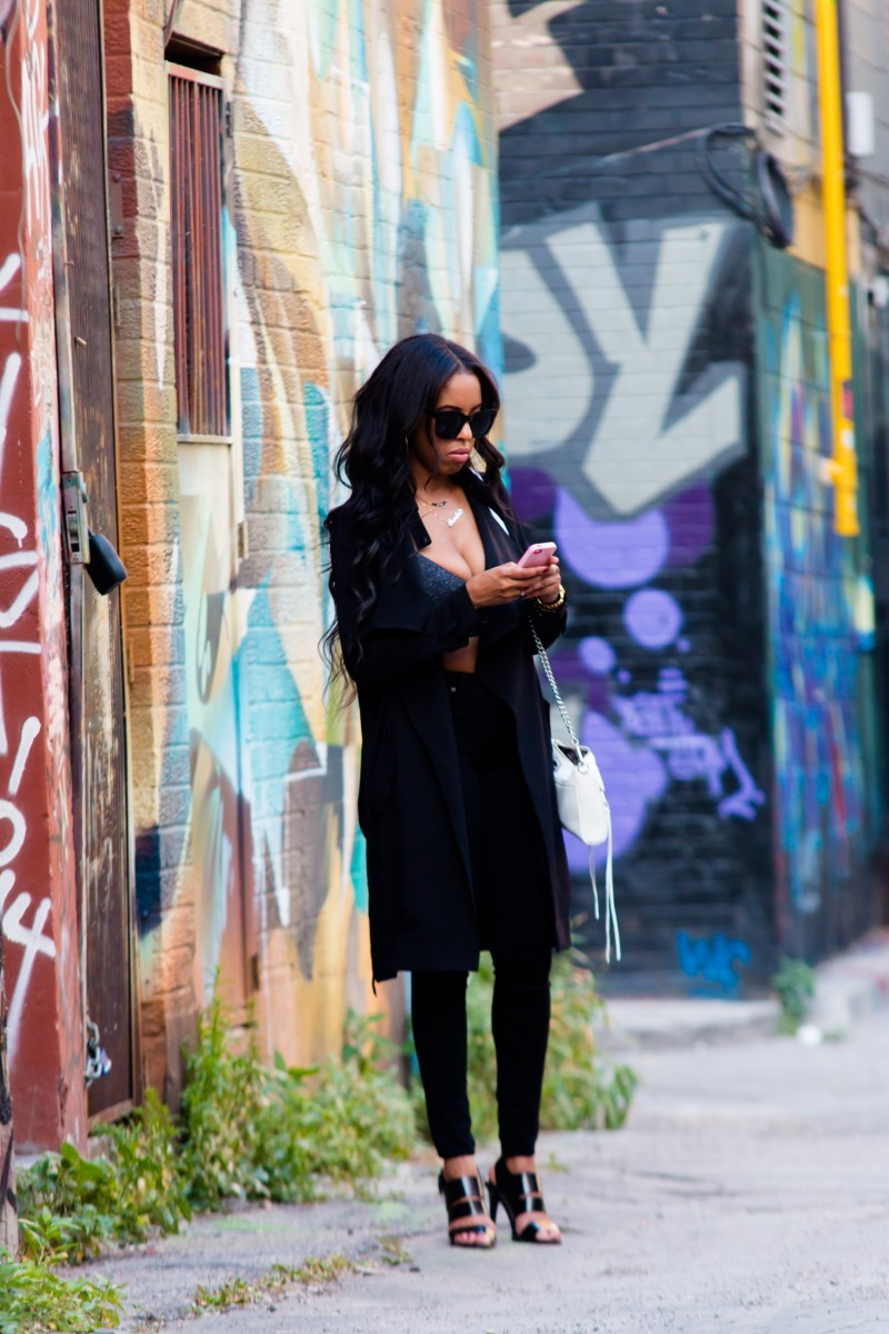 black loose drape jacket