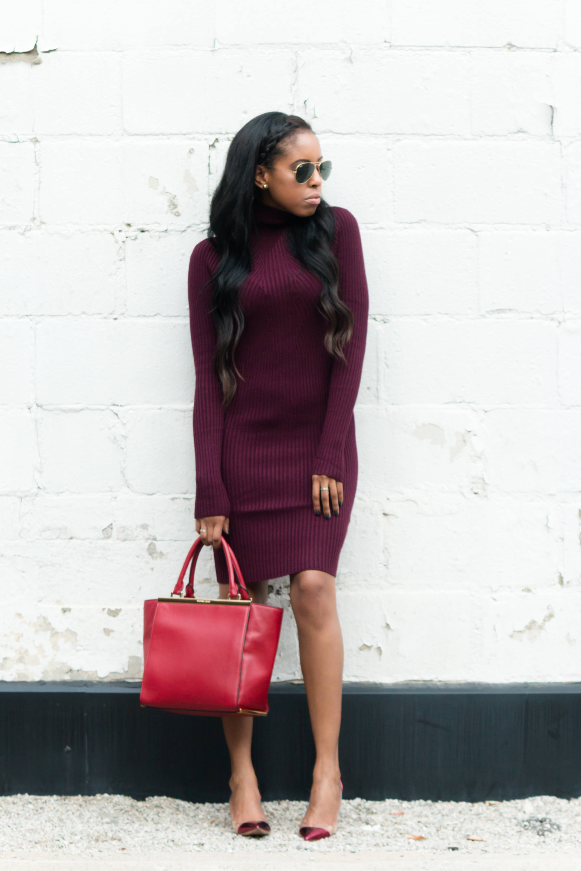 oxblood sweater dress