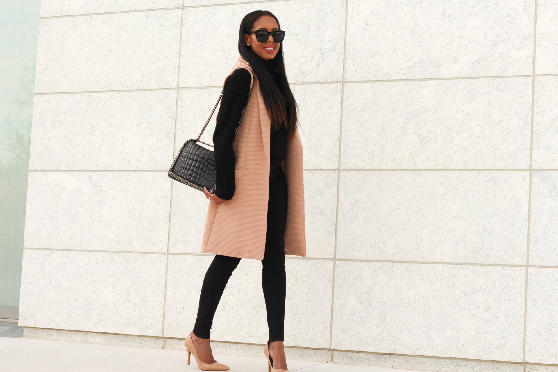 nude and black outfit