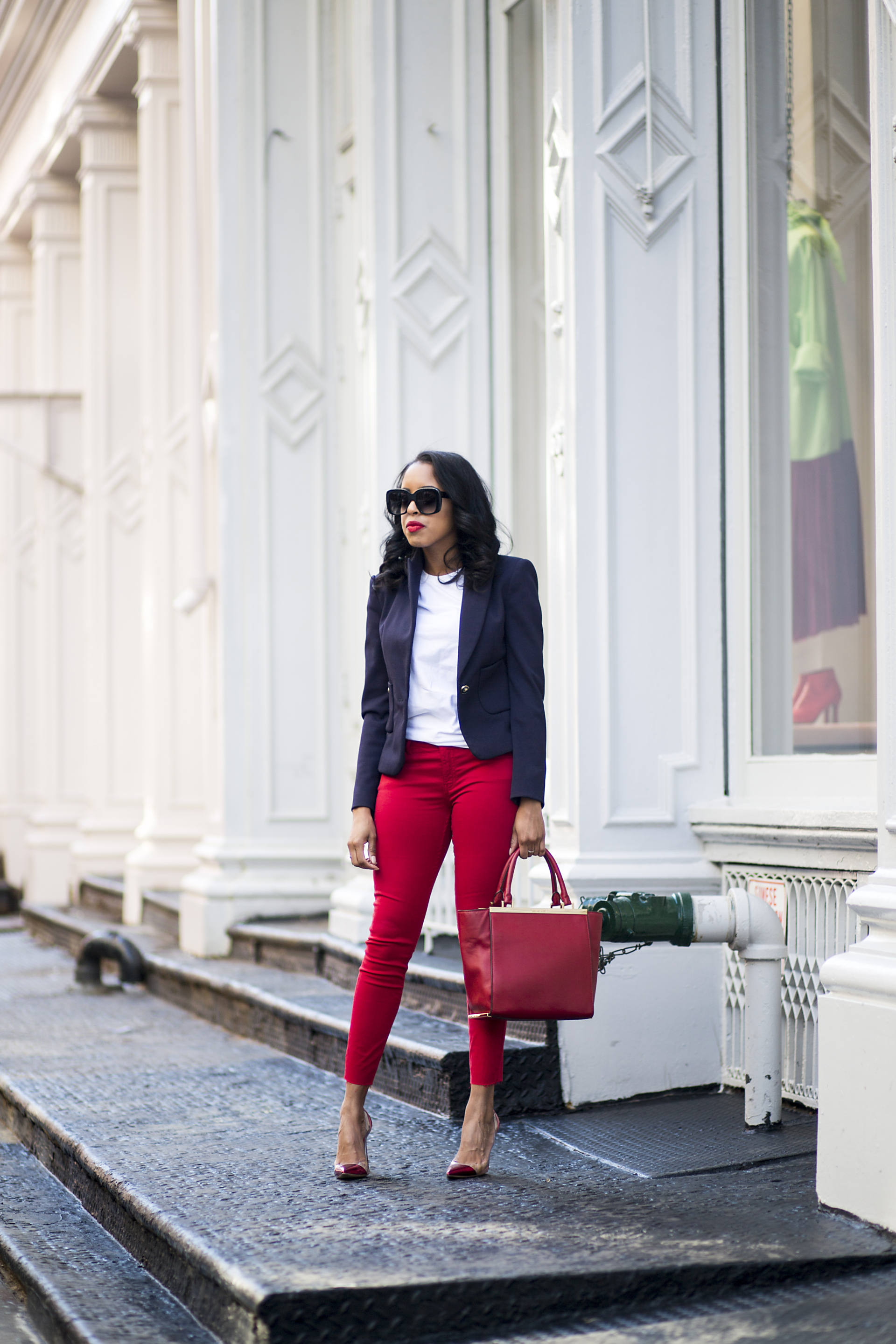 red denim outfit