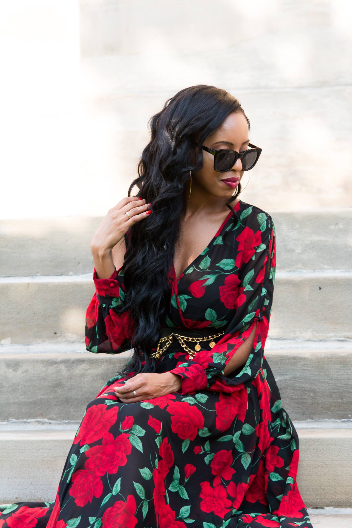 red and green floral maxi dress