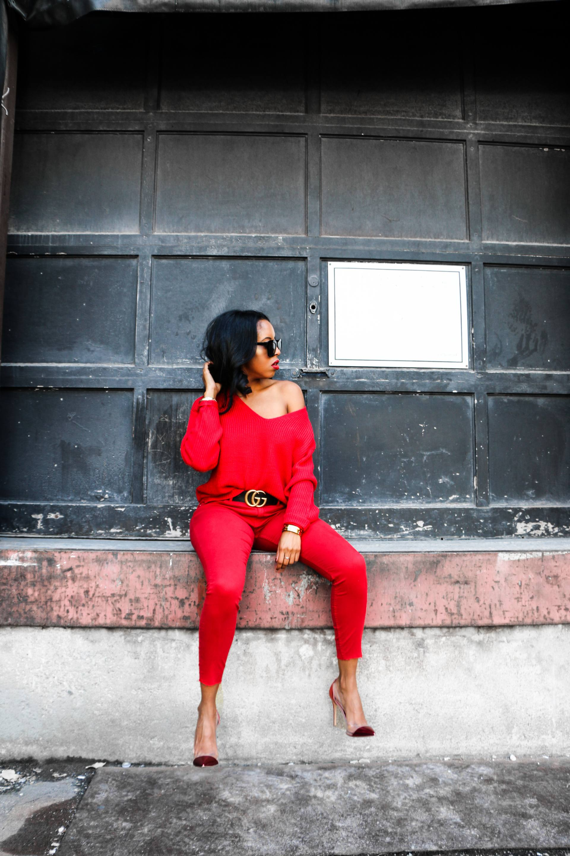 all red outfit fall 2017